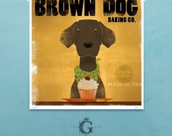 Brown Dog chocolate labrador BAKING COMPANY cupcake art signed artist's print  by stephen fowler