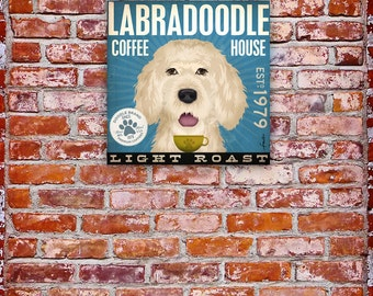 Labradoodle Coffee Company vintage style dog artwork on gallery wrapped canvas by Stephen Fowler