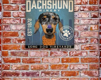 DACHSHUND dapple dog winery vintage style original illustration gallery wrap on gallery wrapped canvas by stephen fowler
