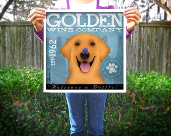 Golden Retriever dog Wine Company original illustration graphic artwork giclee archival print by Stephen Fowler