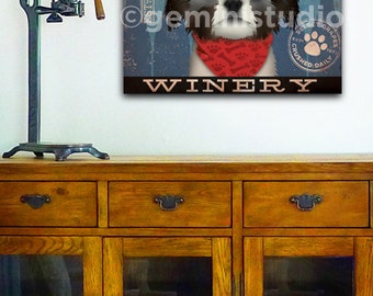 Shih Tzu Wine Company dog graphic illustration gallery wrapped canvas by stephen fowler