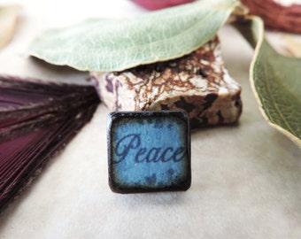 Blue Aqua Black antiqued PEACE Inspirational Word double sided ART Tile wood pendant charm