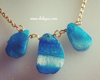 last one!!! TRIPLE BLUE AGATE Crystal necklace
