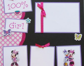 100% GIRL 12x12 Premade Scrapbook Pages - MiNNie MoUse
