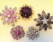 5 Jeweled Magnets. Victorian Fancy Neodymium-PURPLE