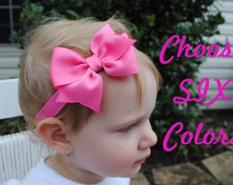 Baby Bow Headbands - Set of 6 Baby Headbands - Soft Headband - Baby Head Band - Big Bow Headband - Girl Headband - Hair Bow Headband Baby