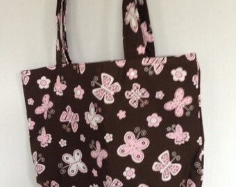 Small Tote-Pink Butterflies on Brown (Bag 470)