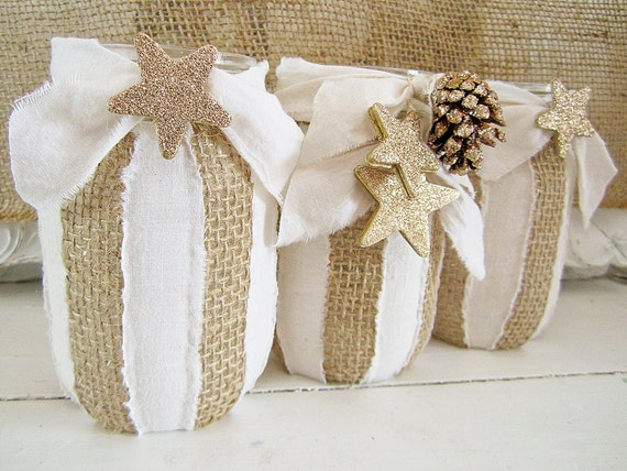 Christmas Decor Mason Jar Burlap and Muslin Shabby Chic Cottage Chic Centerpiece Holiday Decor