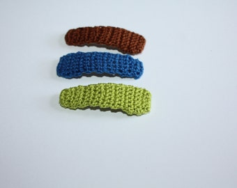 Girls Hair Clips, Crochet Hair Clips, Hair Accessories, Gift for Girls, Birthday Gift for her, Medium Size Clips, Fudge Brown, Blue, Lime