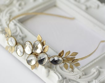 Crystal bridal headband brass leaf head piece wedding tiara romantic jewel