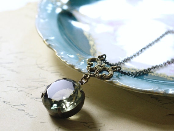 Victorian crystal necklace jewel brass elegant vintage glass antique style grey aqua sapphire bronze gem