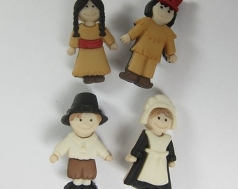 Pilgrims and Indians Novelty Buttons