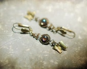 Fairy garden  - vintage aurora borealis purple glass and golden brass butterfly earrings
