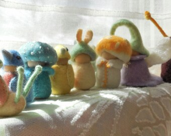 Snail Child - felted peg doll - storytelling doll - waldorf doll