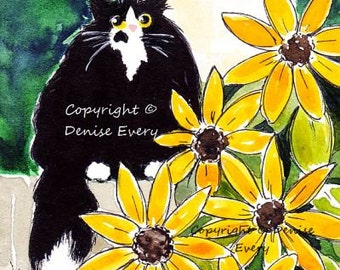 Tuxedo Maine Coon Kitty Sunflowers Full Moon Twilight Black Cat Art ATC ACEO Print