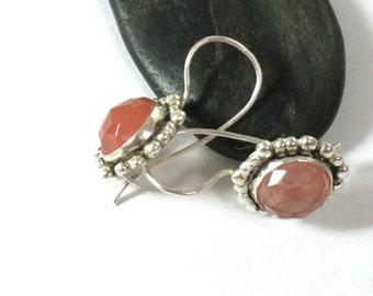 Pink Stone Earrings, Pink Earrings, Silver Earrings Dangle, Cherry Quartz Earrings, Dainty Earrings, Artisan Earrings, Handcrafted Jewelry