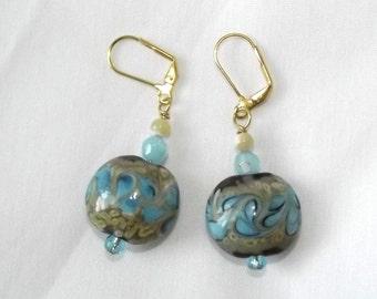 Handmade Beaded Earrings Artisan Jewelry Lampwork Glass Beads Blue Taupe Cream Mod