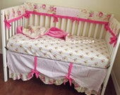 HOT SALE* Ready To Ship Shabby Chic Roses and Damask with Ruffles Bumperless 3 Piece Crib Bedding Set made with Designer Fabrics