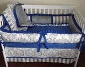 Custom White Gray & Royal Blue 4-Piece Complete Boutique with Ruffles and Minky Crib Nursery Bedding Set