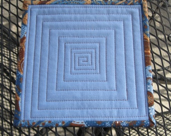 """Pot holder, hot pad, quilted, blue, with stitching, reversible, 8"""" square"""