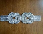 Large Vintage Deco Rhinestone Trim Embellishment Belt Applique Wedding