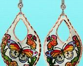 Butterfly & Flower Earrings Art Jewelry
