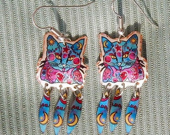 Whimsical Cat Earrings with Moon Feather Dangles