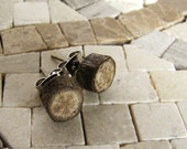 MINIATURE Woodland Oak Rustic Twig Wooden Stud Earrings by Tanja Sova