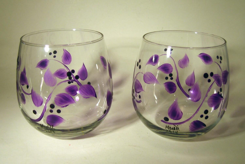 Hand painted purple leaves stemless wine glasses for Painted stemless wine glasses