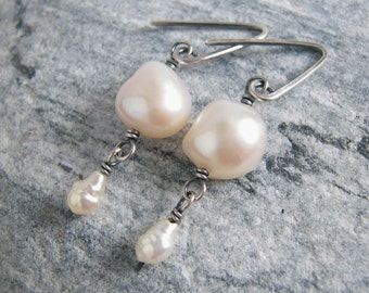Freshwater Pearl Earrings, White Pearl Jewelry, Oxidized Sterling Silver, Rustic Bridal Earrings, Something Old, June Birthstone