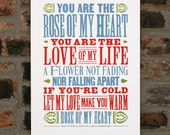 Rose Of My Heart Johnny Cash letterpress poster