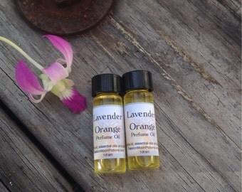 Perfume Oil, Delicate Lavender, Tangy Orange, Pure Essential Oils