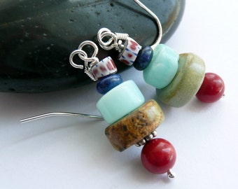 Handcrafted African Trade Bead Lapis Coral Turquoise Blue Peruvian Opal Sterling Silver OOAK Southwestern Totem Bohemian Dangle Earrings