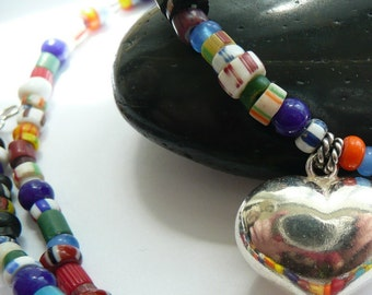 Multi Colored African Tribe Beads Sterling Silver Heart OOAK Tribal Boho Necklace