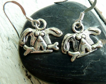 Handcrafted Artisan OOAK Sterling Silver Dog with Bone Hippie Chic Bohemian Dangle Earrings