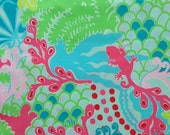 """lilly pulitzer's blue checking in egyptian cotton fabric square 18""""x18"""""""