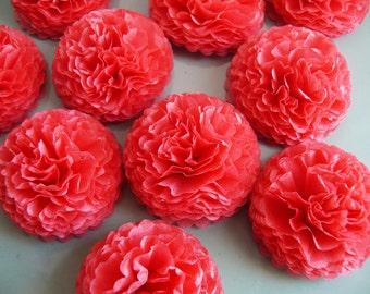 Button Mums Tissue Paper Flowers 1 inch  Island Pink  Wedding, Bridal Shower, Baby Shower Decor