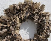 Primitive Teastained Black and Tan Rag Wreath Burlap Small Homespun Fabrics Rustic Spring Decor