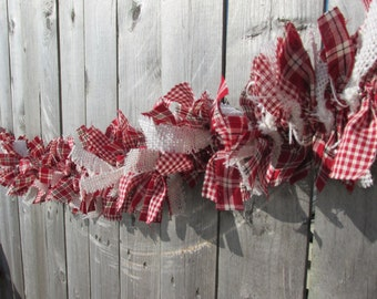 Bright Red and White Burlap Rag Garland Homespun Fabric Garland, Christmas Garland, Valentine's Day, Rustic Garland
