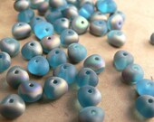 Aqua Vitrail Czech Glass Beads Potato Rondelle Frosted Matte Teal Blue 4x6mm (30)
