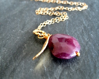 Raw Ruby Gold Necklace Wine Red 14K goldfilled Gift for her Under 70 by Vitrine