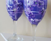 Purple Plaid and Violets Wine Glasses Hand Painted