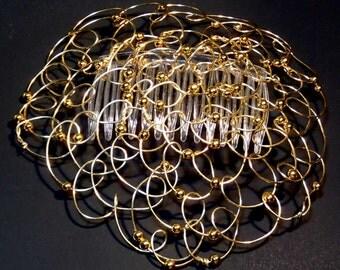 """Womens Kippah- Bat Mitzvah Kippot Womans Kippah Chapel Cap Wire Kippah Gold Wire 5"""""""
