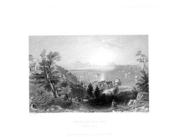 VILLAGE of SING-SING Hudson River ~ American Landscape 1840s William Bartlett Vintage Antique Art Print Engraving [Inv#BartMsc 17