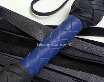 SALE Blue And Black Leather Flogger Whip BDSM Kink Fetish (FLG 104)