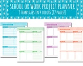 3 Page Project Planner in 4 Bright Colors. 8.5x11 letter sized printable PDF download. Red, Purple, Teal, Green.
