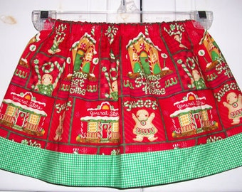 CIJ Sale 18m Twirl Skirt Christmas Skirt with Gingerbread House Holiday skirt baby skirt toddler skirt girls skirt Holiday Skirt Last One