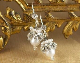 "Bridal Freshwater Pearl Drop Earrings / Silver Wedding Dangle Earrings / Fall Wedding/ Handmade Lace ""Elspeth"""