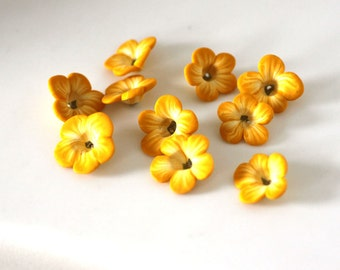 Yellow Buttercup Beads, Polymer Clay Beads, Flower Beads, Sunny Yellow Beads 10 pieces