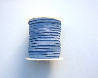 Suede Leather Lace Cord - Light Blue - 50 Feet - Made in the USA